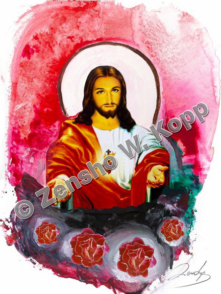 Herz-Jesu MystikGröße: 36x48cmTechnik: Mischtechnik