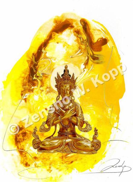Vajradhara - der Buddha der vollendeten HarmonieGröße: 36x48cmTechnik: Mischtechnik
