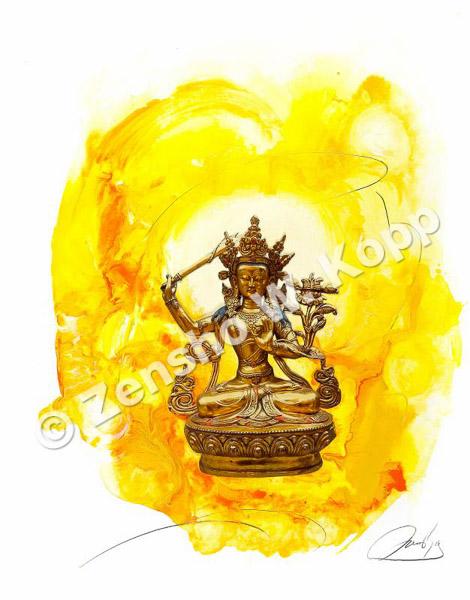 Manjushri - der Buddha der nicht unterscheidenden WeisheitGröße: 50x64cmTechnik: Mischtechnik