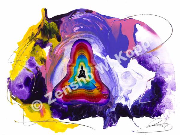 Kosmisches Bewusstsein (das Erwachen der Kundalini)Größe: 40x30cmTechnik: Mischtechnik